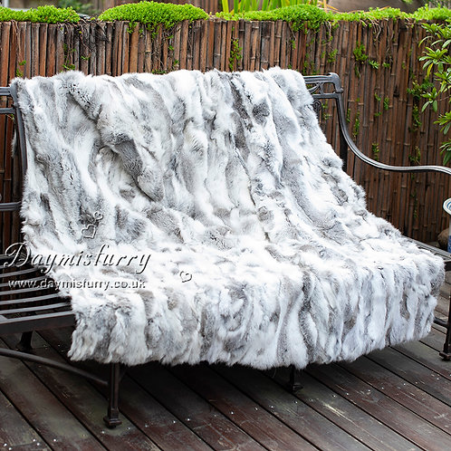 DMD11E Natural Grey Rabbit Fur Blanket / Throw