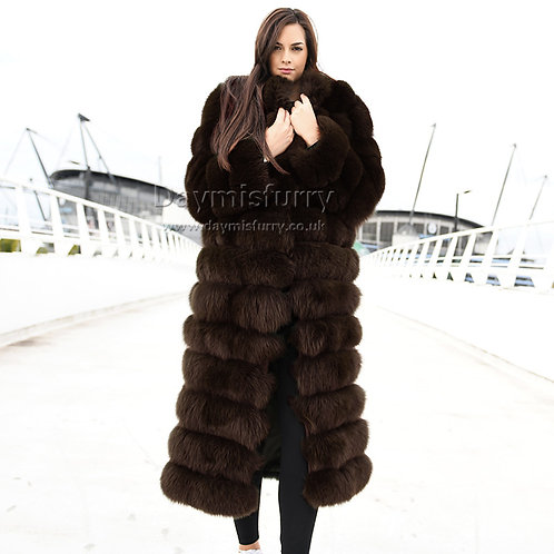 DMGA188D Extremely luxury Fox Fur Over Coat - Chocolate