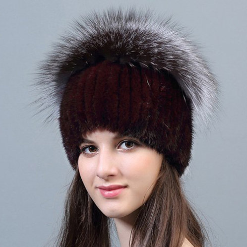DMC35D Wine Red Mink Fur Hat With Silver Fox Top