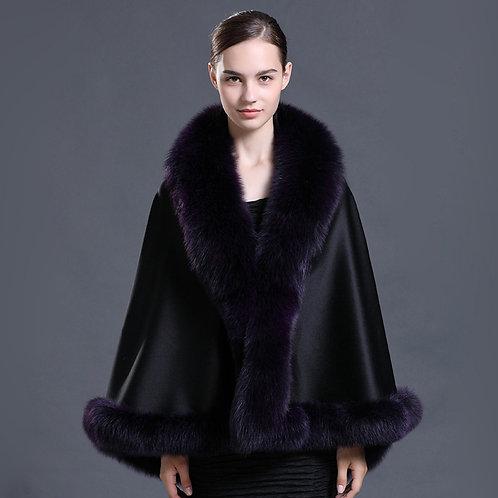 DMBP39D Cashmere Shawl for Women with Purple Fox Fur Trim