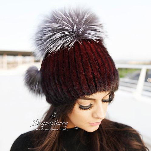DMC56D Wine Red Mink Fur Hat Cap With Silver Fox Pom Pom