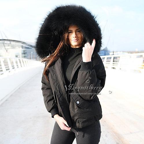 DMGD10A Black  Down Jacket With Racccoon Fur Collar