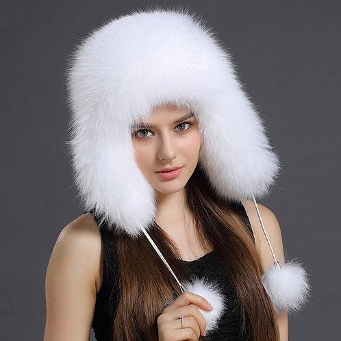 DMC38 White Fox Fur and Waterproof Fabric Russian Hat