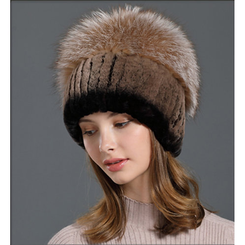 DMC84G  Rex Rabbit Fur Winter Beanie Hats With Fox Fur Top