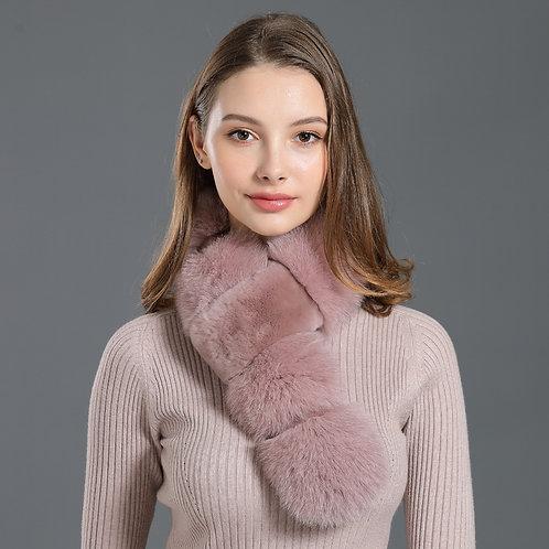 DMS01D Fox Fur and Rex Rabbit Fur Scarf Infinity Scarf