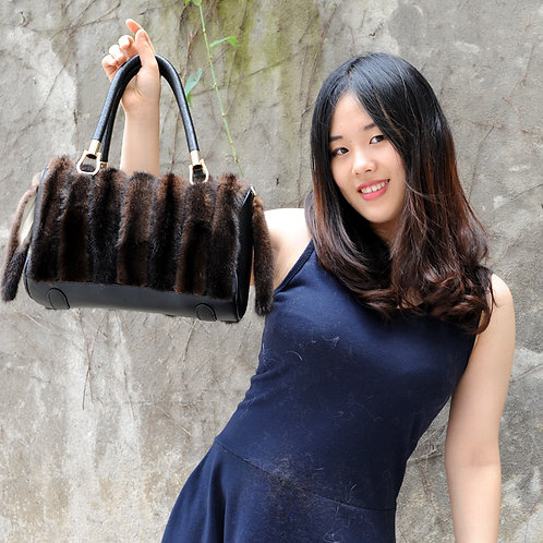 DMH57F Danish Dyed Black And Brown Mink Fur Handbag with Leather Accents