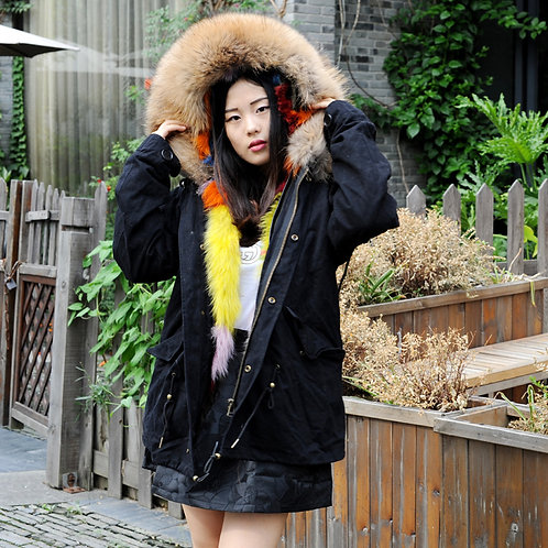 DMGP05G  Dyed Colorful Fox Fur Lined Parka with Raccoon Fur Hood