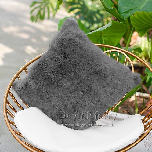DMD17T Pieced Rabbit Fur Pillow Case Cushion Cover
