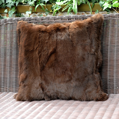 DMD17R Pieced Rabbit Fur Pillow Cover In Brown