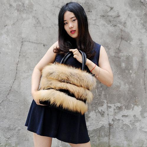 DMH33B Red Fox Fur Trim With Rex Rabbit Fur Handbag with Leather Accents