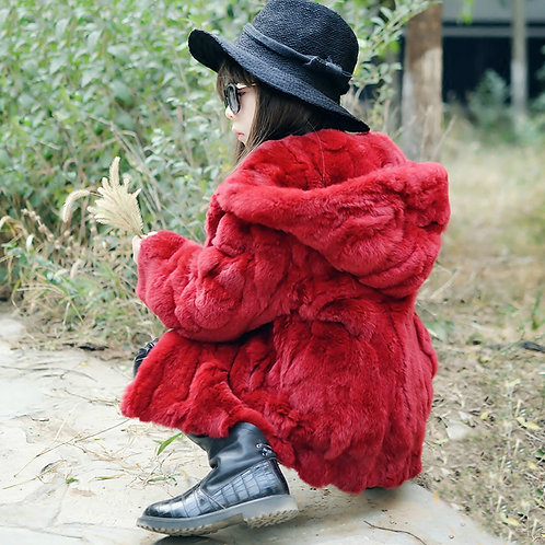 DMGC03A Scarlet Rex Rabbit Fur Kid's  Coat With Hood