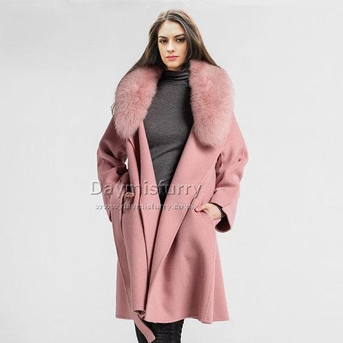 DMGT19A Genuine Fox Fur Collar Wool Blender Coat