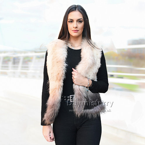 DMGB252B Ombre  Rabbit Fur Gilet With Raccoon Fur Trim