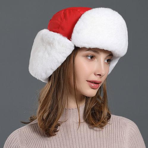 DMC174C Rex Rabbit Fur Womens Winter Hats / Ushanka Russian - Trapper Hat