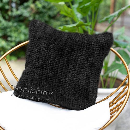 DMD122B Double sided Knit  Mink Fur Cushion Cover - Black