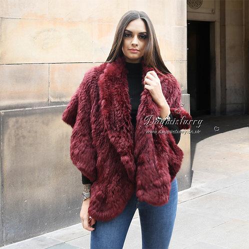 DMB83C Knit Rabbit Fur Cape Wedding Fur Wrap