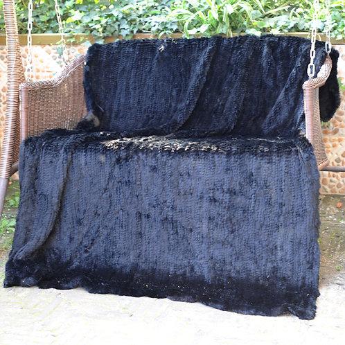 DMD10C Dyed Black Knit Rabbit Fur Throw
