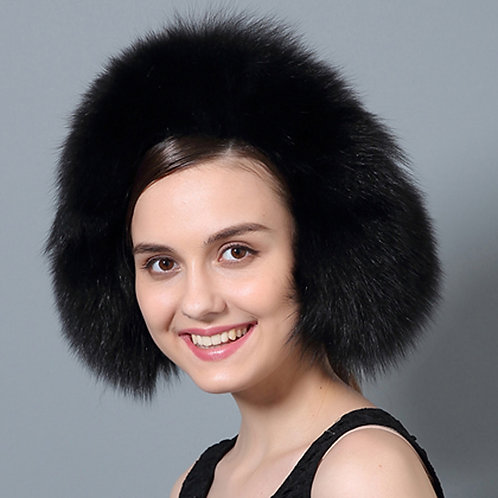 DMA72D Black Fox Fur Earmuffs With Matching Fur Band