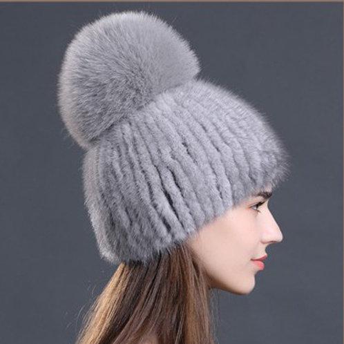 DMC16T Grey Mink Fur Beanie Hat With Finn Fox Pom Pom