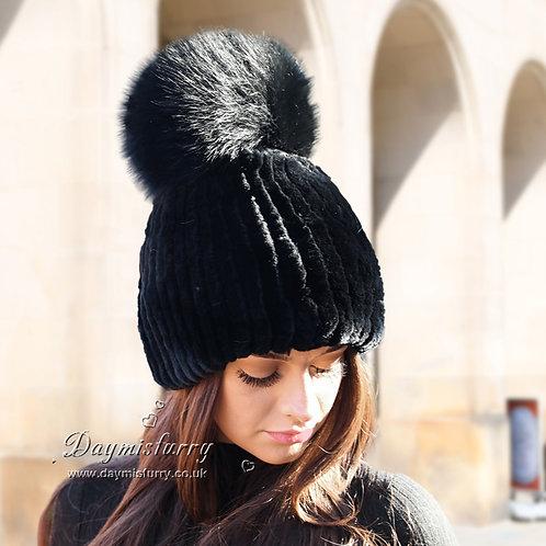 DMC83E Rex Rabbit Fur Beanie Hat With Fox Fur Pom Pom