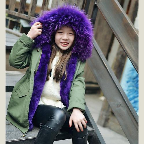 DMGC11A  Children 's Rex Rabbit Fur Parka With  Raccoon Fur Hood