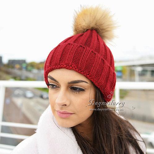 DMC237C Single Raccoon Fur Pom Pom Hat - Wine Red