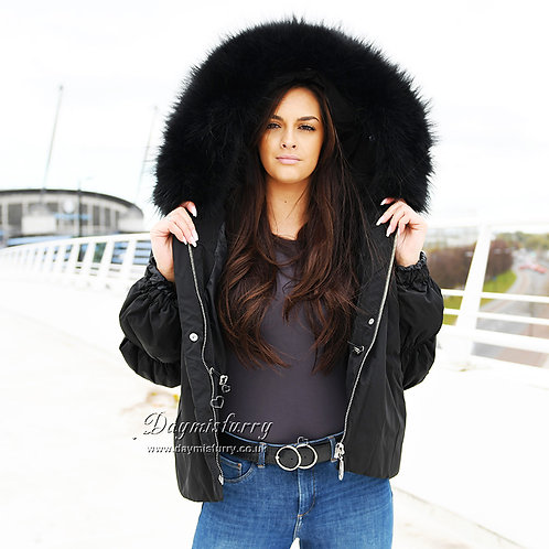 DMGD03B Black  Down Jacket With Racccoon Fur Collar