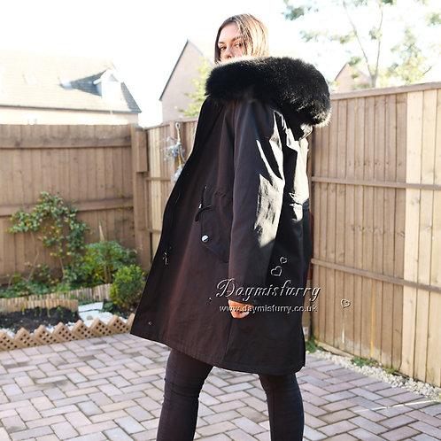 DMGP32C Rabbit Fur Winter Parka Jacket with Real F ox Fur Collar