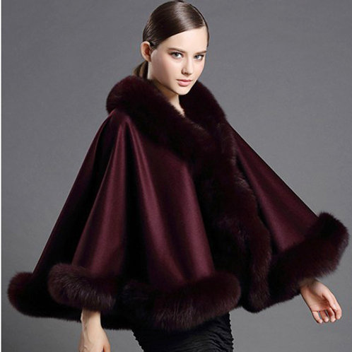 DMBP54C Wine Red Cashmere Cape with  Fox Fur Trim