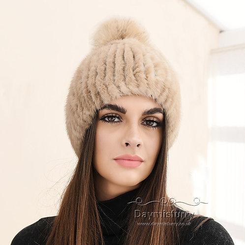DMC164B Camel Mink Fur Beanie Hat With Fox Fur Pom Pom