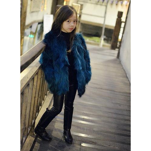 DMGC05C Finn Raccoon Fur Children's Jacket In Royal Blue