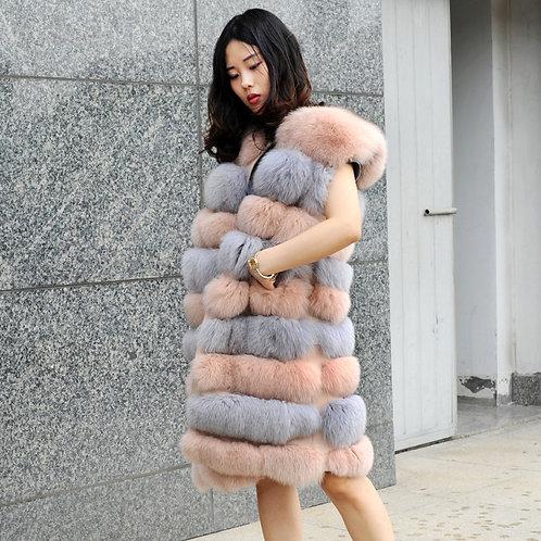 DMGB107B Luxury Dyed Fox Fur Horizontal Design Lady Gilet