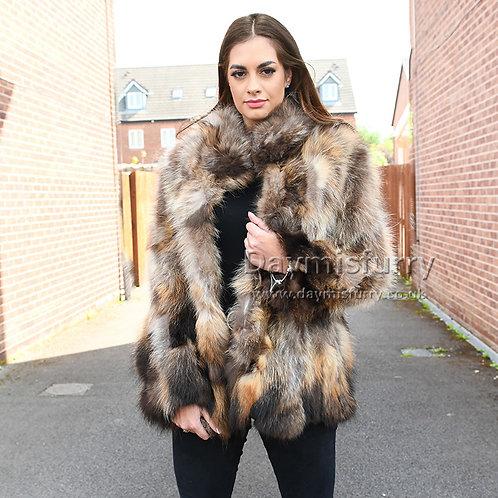 DMGA105 Pieced Raccoon Fur Jacket In Natural Colour