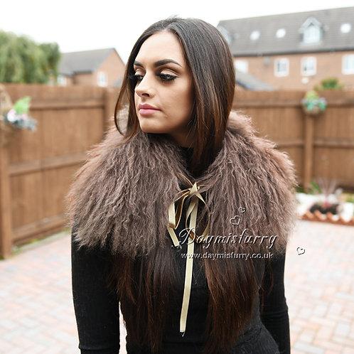 DMA16 Dyed Brown Mongolian Lamb Fur Collar / Fur Scarf