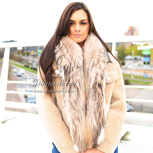 DMA89A Large Detachable Finn Raccoon Fur Collar