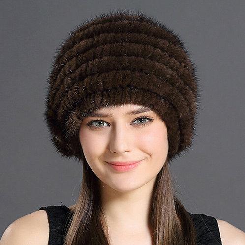DMC62 Knit Mink Fur Beanie Hat, Winter Hat, Real Fur Hat