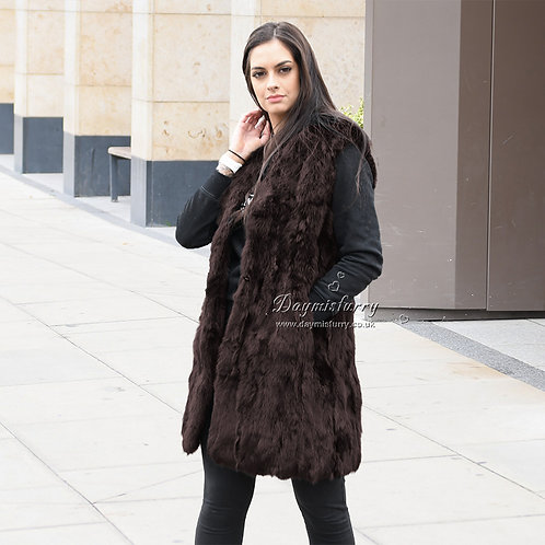 DMGB40E Pieced Rabbit Fur Vest
