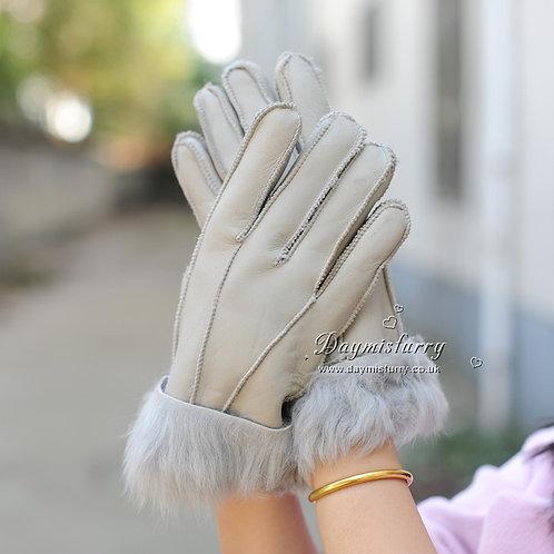 DMA31J  Leather Shearling Sheepskin Mittens Glove