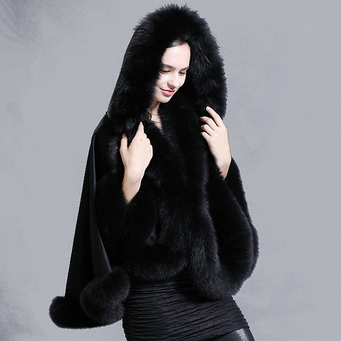 DMBP66B Cashmere Cape with Detachable Hood and Fox Fur Trim