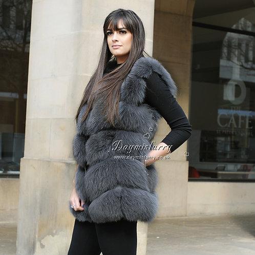 DMGB243F  Fox Fur Vest / Winter Vest In Deep Grey