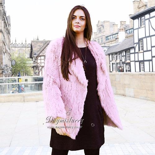 DMGA04B Knit Rabbit Fur Lady Jacket in Pink
