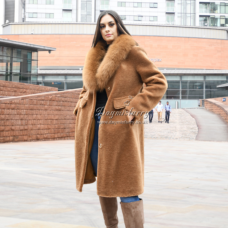 Chic and warm in winter season. 100% wool Satin lining  2 Pocket Length measures 37.5 inches. Care instructions: dry clean and professional fur clean only Brand: DAYMISFURRY