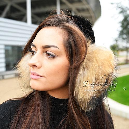 DMA71E Raccoon Fur Earmuffs With Mink Fur Band