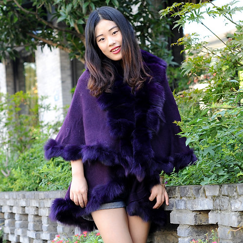 DMBP45A Layered  Fox Fur Trim Lady Cape In Violet