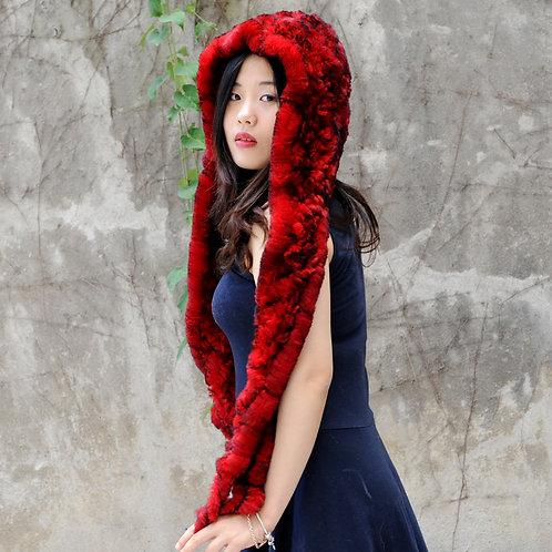 DMC17B Dyed Red Knit Rex Rabbit Fur Scarf With Hood