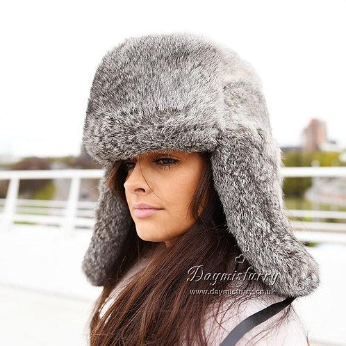 DMC26A Grey Rabbit Fur Russian Ushanka Hat