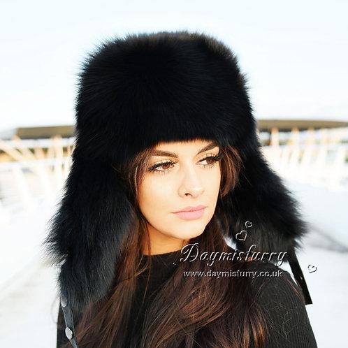 DMC47B Black Fox Fur Trapper Hat