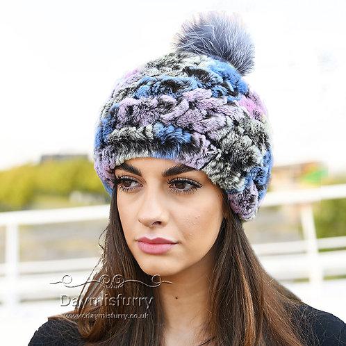 DMC78 Knit Rex Rabbit Fur Beanie Hat With Fox Fur Pom