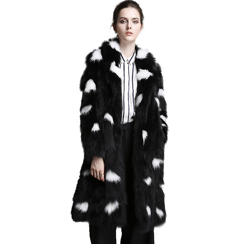 DMGA217 Black With White Pattern Fox Fur  Coat