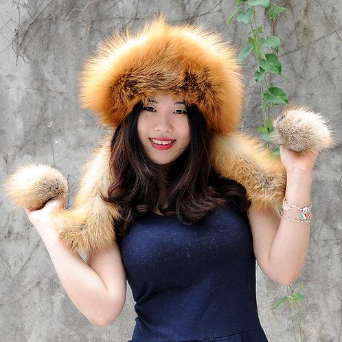 DMC175A Finn Fox Fur Hat with Rex rabbit Fur  Top